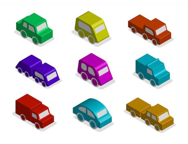 分離された3 dの等尺性おもちゃの車のアイコンのセット