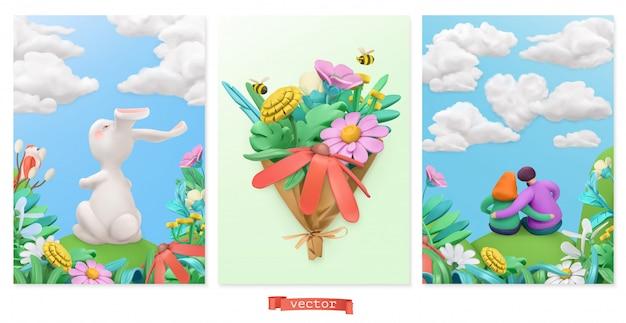 イースターのウサギ、野の花の花束、愛のカップル。春の物語ラスチシンアート。 3 dグリーティングカードセット