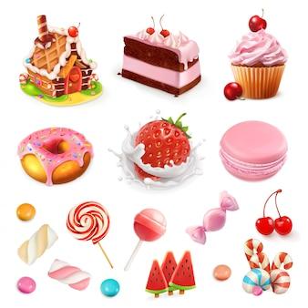 菓子とデザート。イチゴとミルク、ケーキ、カップケーキ、キャンディー、ロリポップ。ピンクの3 dセット
