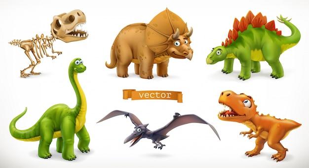 恐竜の漫画のキャラクター。ブラキオサウルス、テロダクティル、ティラノサウルスレックス、恐竜の骨格、トリケラトプス、ステゴサウルス。面白い動物の3 dアイコンを設定