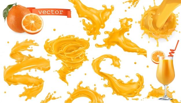 オレンジ色の塗料スプラッシュ。マンゴー、パイナップル、パパイヤジュース。 3 dのリアルなアイコンセット