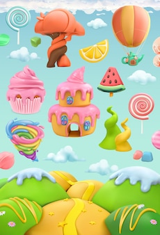 甘いお菓子の土地、3 dベクターオブジェクトセット。粘土アートイラスト