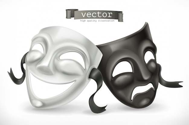 黒と白の演劇用マスク。コメディと悲劇、3 dアイコン