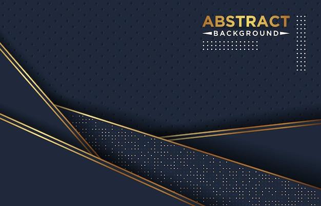 抽象的な3 dブルーネイビーゴールデンラインオーバーラップの背景に金色と白のキラキラドットモダンで豪華な未来的な背景