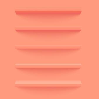 壁にピンクの3 d棚。木製の水平の現実的な空の棚。
