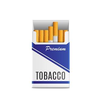 3 dの現実的なパックのタバコ。高品質のベクトル図では、白い背景で隔離