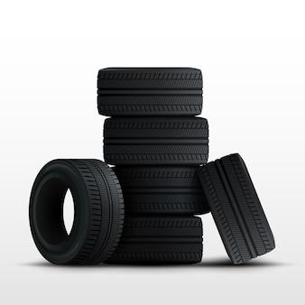 タイヤセット。白で隔離される3 dの現実的な車のタイヤ。
