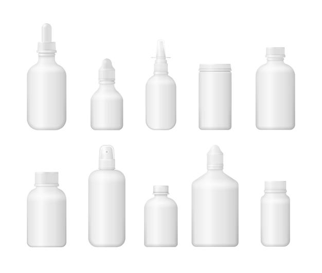 3 d医療空白ボックス。白いプラスチックパッケージデザイン。医薬品、錠剤、錠剤、ビタミンのさまざまな医療用ボトルのセット。写実的な包装のモックアップテンプレート。イラスト、。