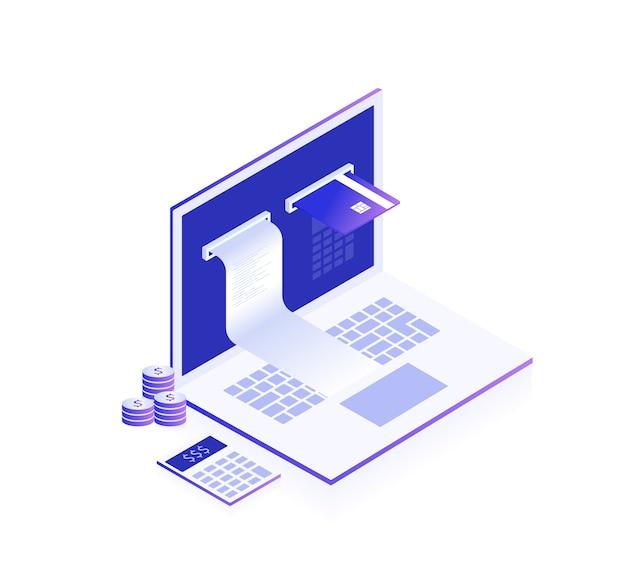 オンライン支払いの概念。電子請求書とオンラインバンク、チェックテープと支払いカード付きのラップトップ。モダンな3 dアイソメ図