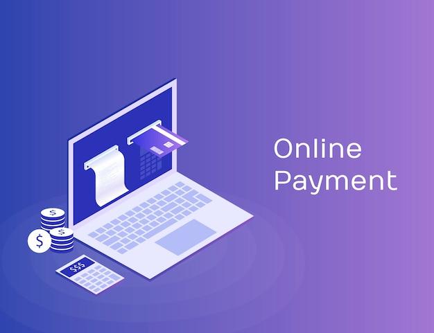 電子請求書とオンラインバンク、チェックテープと支払いカード付きのラップトップ。モダンな3 dアイソメ図