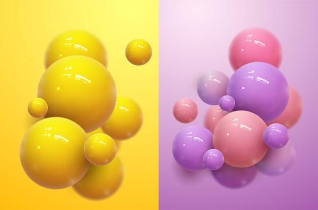 抽象球ポスター。現実的な3 dプラスチックボール、音楽パーティーのチラシテンプレートを備えたモダンなパンフレット。イラスト背景