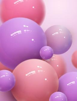空気、3 dイラストレーションに浮かぶ夢のような光沢のある球