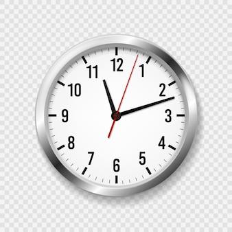 現実的なオフィスの時計。時間の矢と時計の文字盤を備えたモダンな壁の丸い時計。 3 d金属の古典的な時計スケジュールベクトル概念