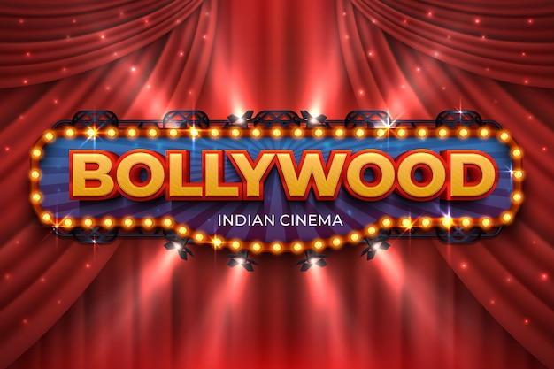 インド映画の背景。赤いカーテンとボリウッド映画のポスター、3 dのリアルな映画賞の舞台。ボリウッド映画撮影