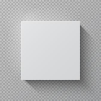 現実的な段ボール箱。正方形のホワイトペーパーパッケージ、トップビュー空白段ボールギフトパック3 dテンプレート