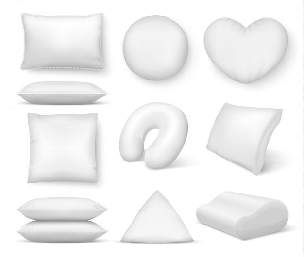 リアルな白いクッション。正方形の快適なベッド枕、睡眠と休息のための柔らかい空の丸いクッション。分離された3 d枕