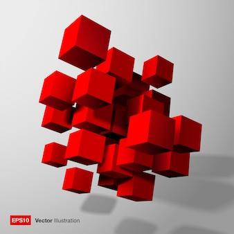 赤い3 dキューブ。抽象的な構成。