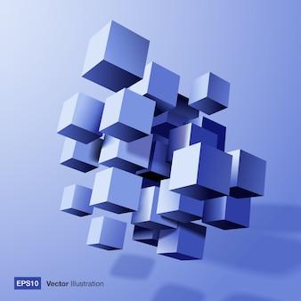 青い3 dキューブの抽象的な構成。