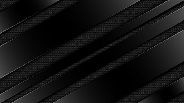 斜めの幾何学的形状で装飾的な3 d豪華なモダンな黒グラデーション組成背景