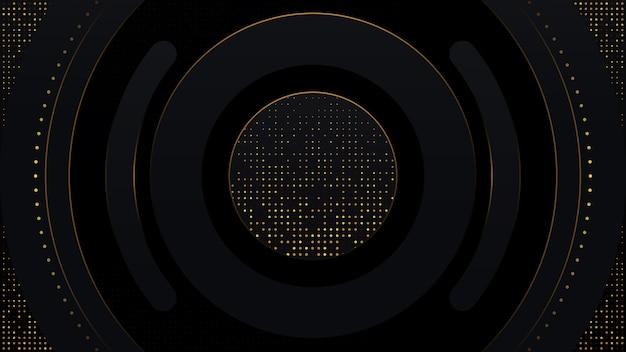 幾何学的形状を持つ3 d豪華なモダンなブラックグラデーションコンポジションの背景