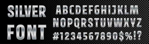 銀のフォントの数字と文字のアルファベットのタイポグラフィ。クロムメタリックシルバーフォントタイプ、3 d金属テクスチャグラデーション効果