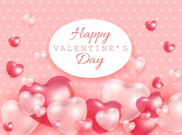 赤とピンクの3 dハートで幸せなバレンタインの日ギフトカード形状透明な風船-ロマンチックなベクトルイラスト。