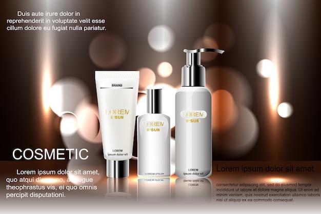絶妙な化粧品の広告テンプレート、背景の輝くボケ味と眩しい効果の空白のモックアップ、スプレーボトル、チューブ3 dイラスト。