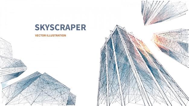 高層ビルの抽象的なデジタルローアングルビュー。多角形の線、粒子、および接続された点。白い背景の上の孤立したビジネス建物。成功とビジネスの3 dテクノロジーのコンセプト。ポリゴン