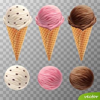 ワッフルコーンの3 dの現実的なアイスクリームスクープ(レーズン、フルーツストロベリー、チョコレート)