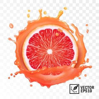 ドロップとジュースの透明なスプラッシュで3 dのリアルなスライスグレープフルーツ、編集可能な手作りメッシュ