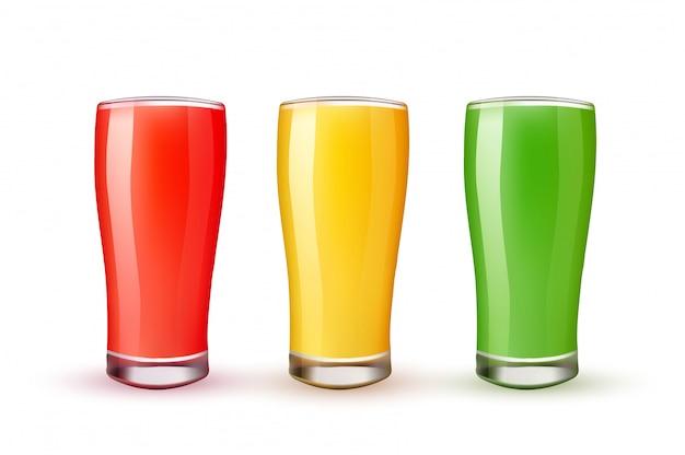 ベクトル3 dオレンジイチゴキウイジュースグラス