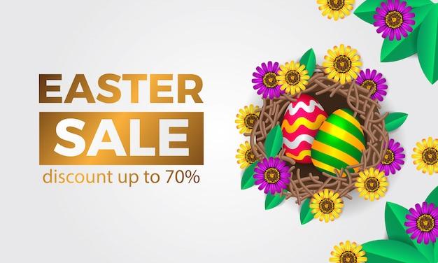 イースターのための春の花の花と東に3 dの卵