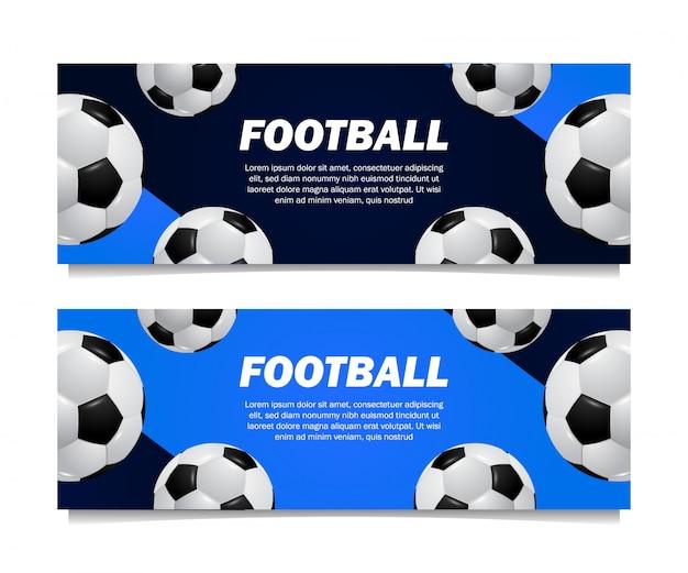 多くの3 d現実的なボールサッカーサッカーテンプレートバナー