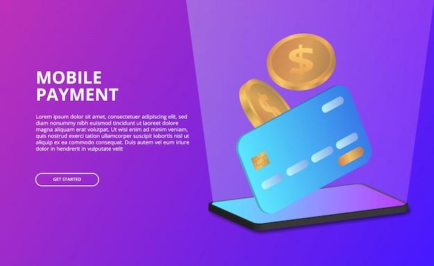 クレジットカード、黄金のコインのイラストと3 d視点モバイル決済コンセプト。