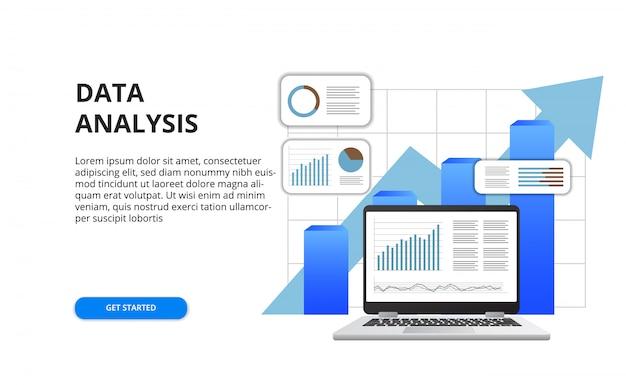 3 dノートパソコンとグラフのイラストとビジネス金融レポートコンセプトのデータ分析