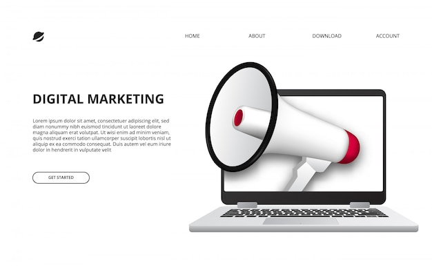 プロモーションとインターネット広告のためのメガホンと3 dノートパソコンデバイスのイラストとデジタルマーケティングの概念