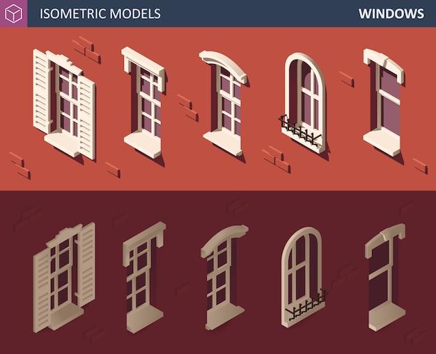 さまざまな等尺性ウィンドウセット。 3 dの等角投影図。