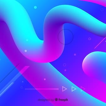 カラフルな流体3 d図形の背景