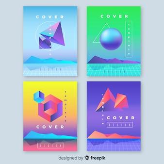 フローティング3 dグラデーションポリゴンパンフレットコレクション