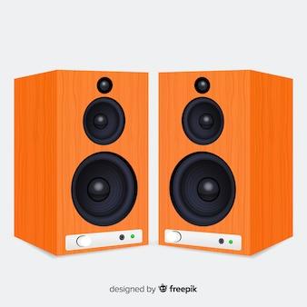 リアルな3 dオレンジ色のスピーカーの背景