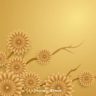 3 dの花と金色の背景