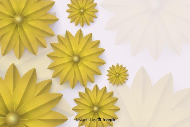 3 dの黄金の花の背景
