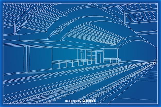 建物の建築の3 d設計図