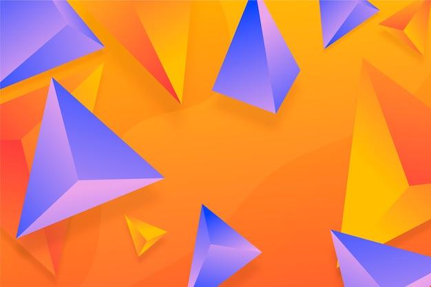 バイオレットとオレンジの3 dの三角形の背景