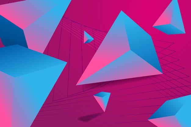 鮮やかな色の3 dの三角形の背景