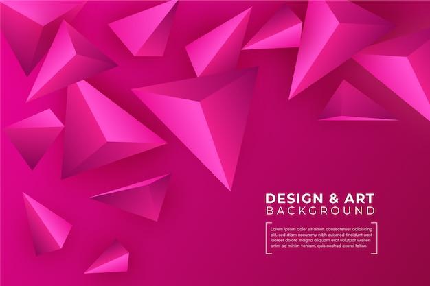 3 dピンクの三角形の背景