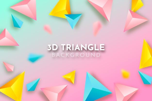 3 dのカラフルな三角形の背景