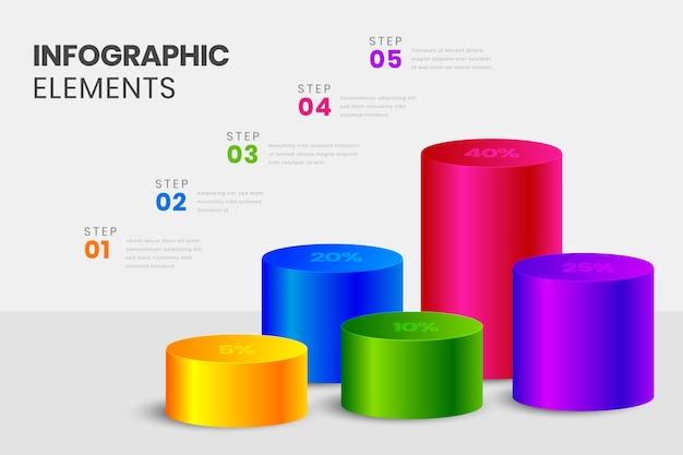 カラフルな3 dバーのインフォグラフィック