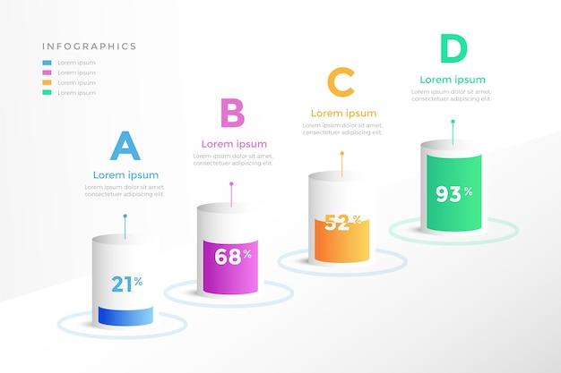3 dバーインフォグラフィックコンセプト