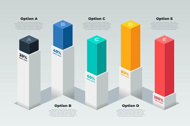 3 dバーのインフォグラフィック